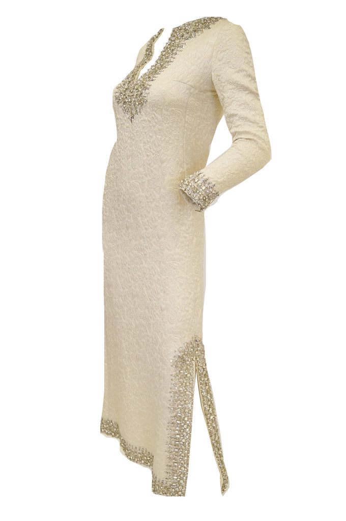 1960s Marie McCarthy for Larry Aldrich Ivory and Silver Sequin Evening Dress