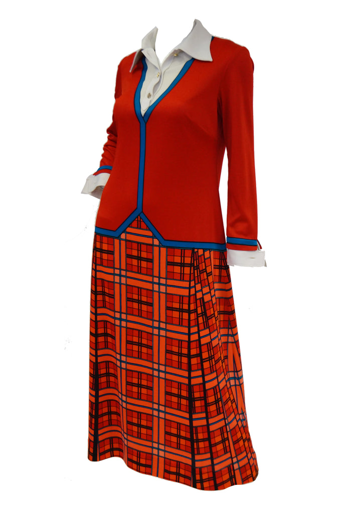 1970s Roberta di Camerino Red and Blue Trompe L'oeil  Midi Dress