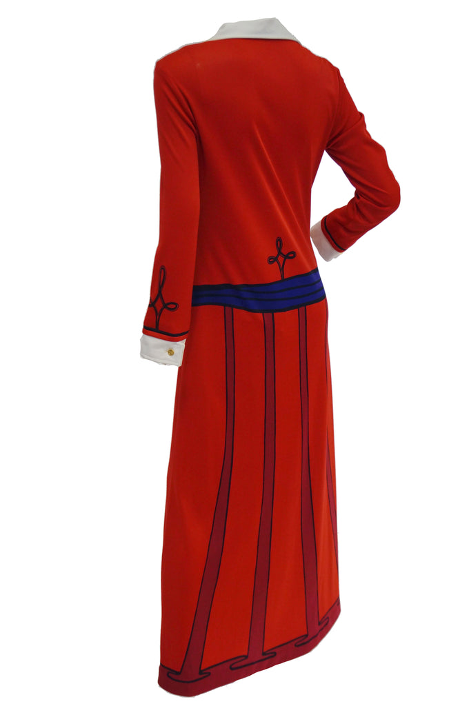 1970s Roberta di Camerino Red Trompe L'oeil Ensemble Maxi Dress