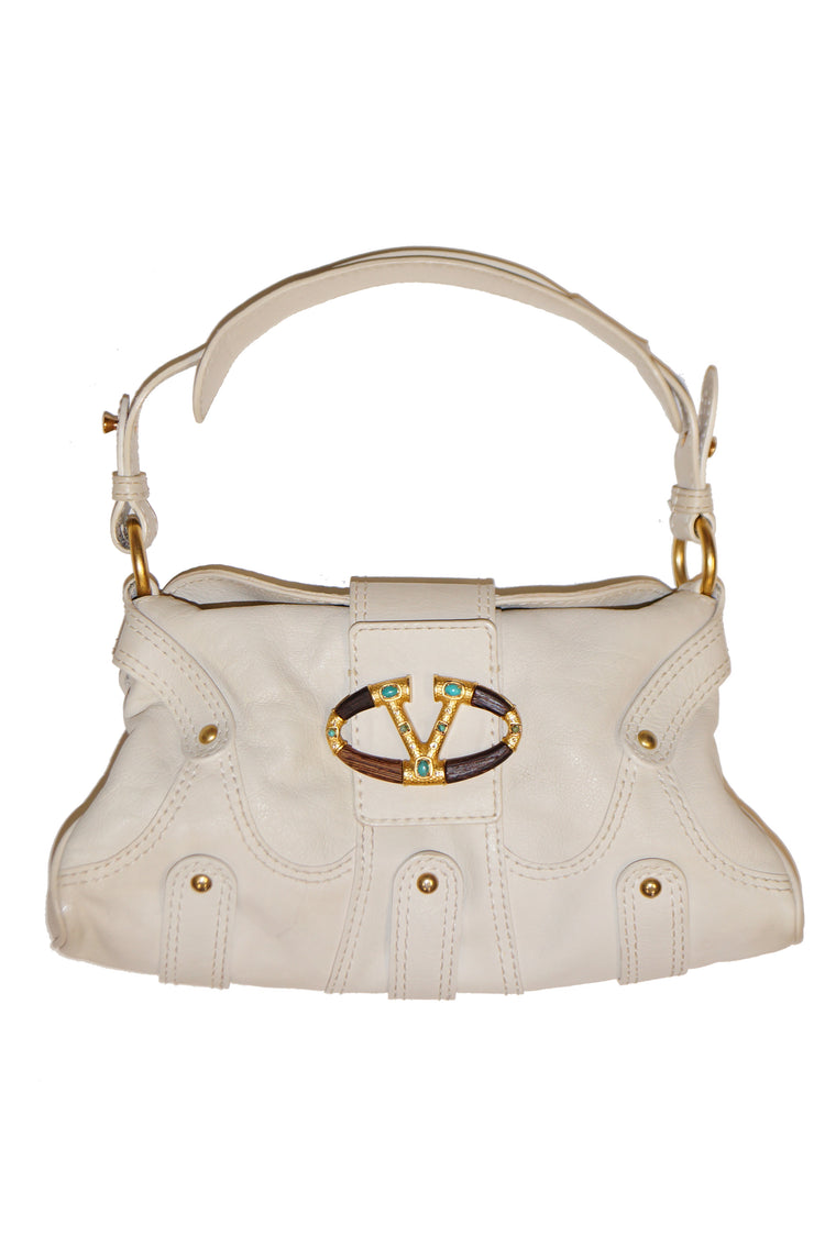 Valentino Leather Off White Rock Studded Shoulder Bag