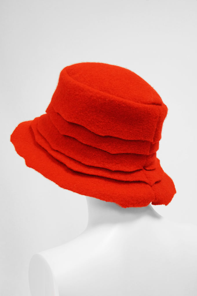 2001 Stephen Jones Rose Red Felt Layered Bucket Hat, England