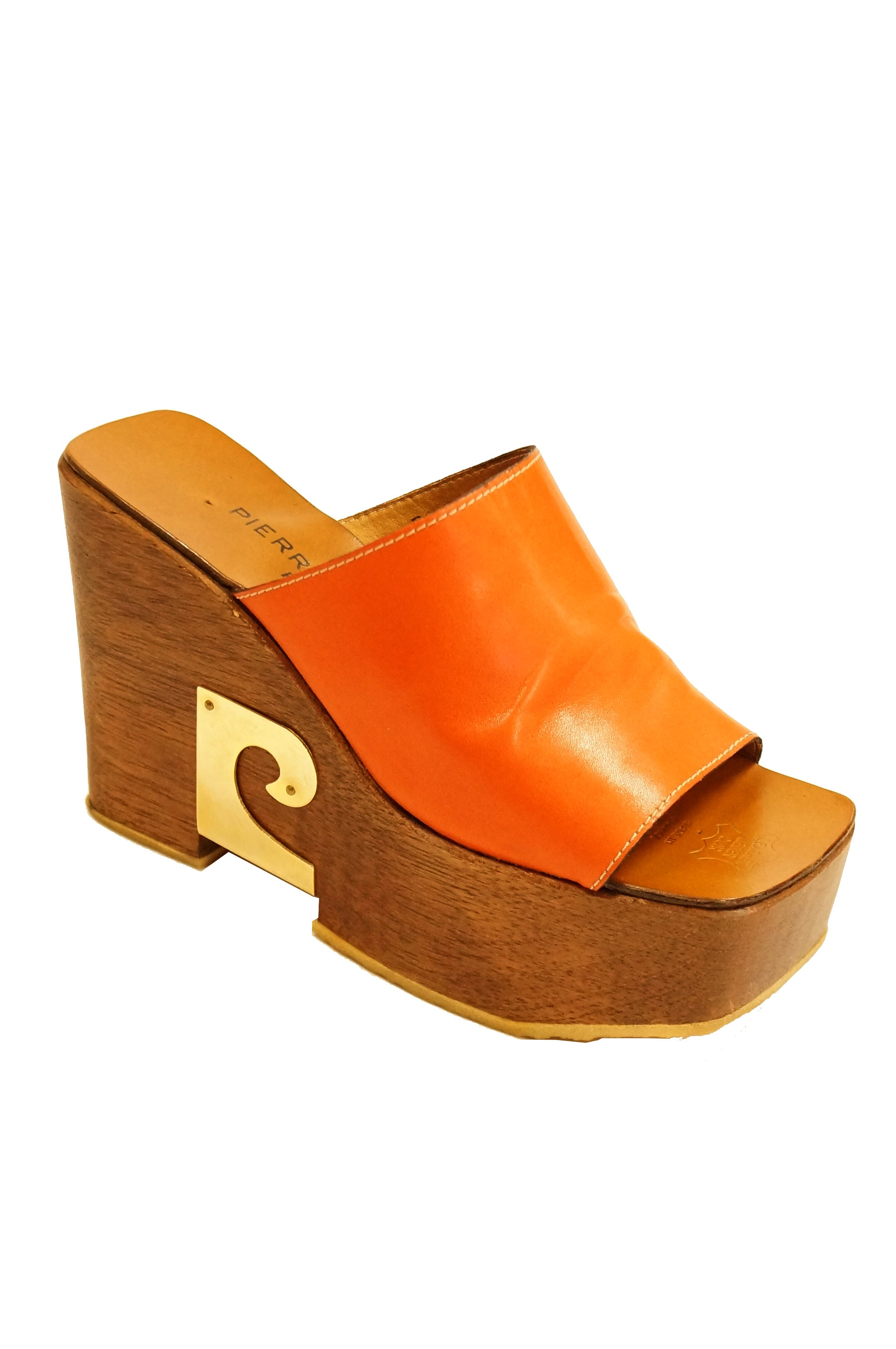 Rare 1970s Pierre Cardin 7AA Carmel Leather and Wood Platform Shoes