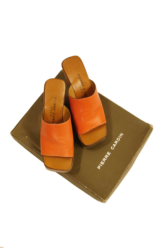 1970s Pierre Cardin Orange Leather and Wood Platform Mules, Iconic