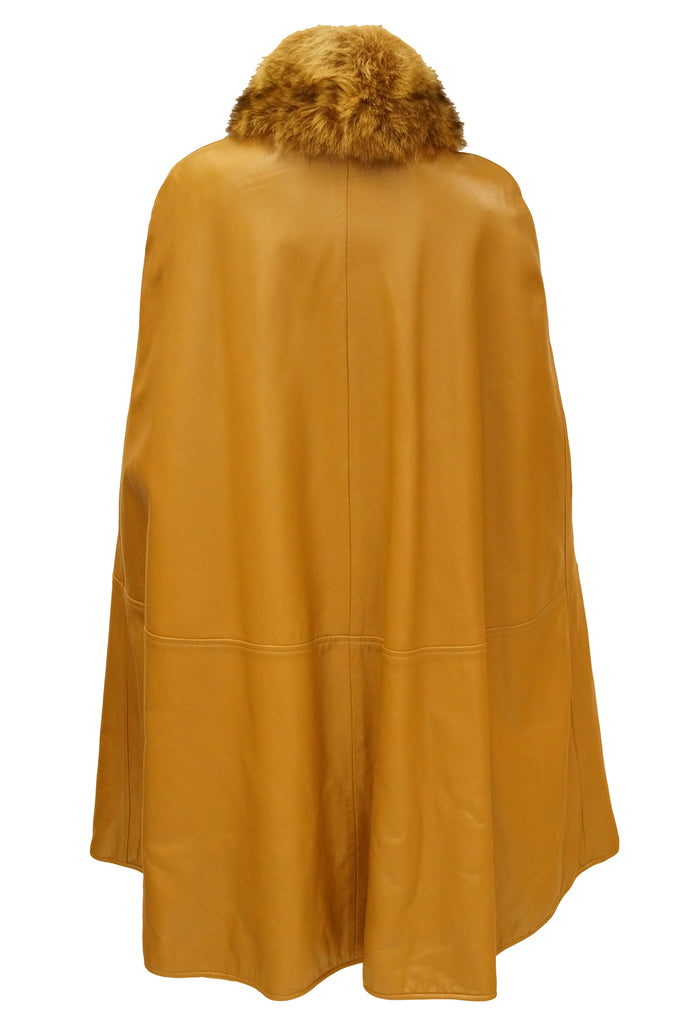 1960s Bonnie Cashin Leather Cape w/ Fur Collar