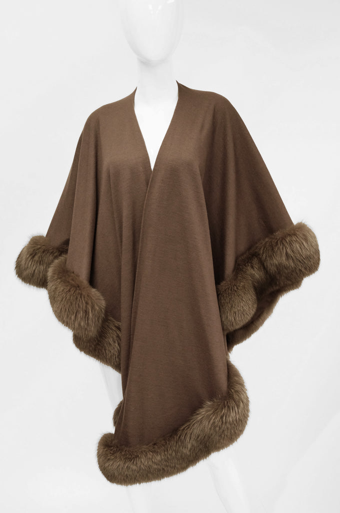 Adrienne Landau Wool and Fox Fur Shawl