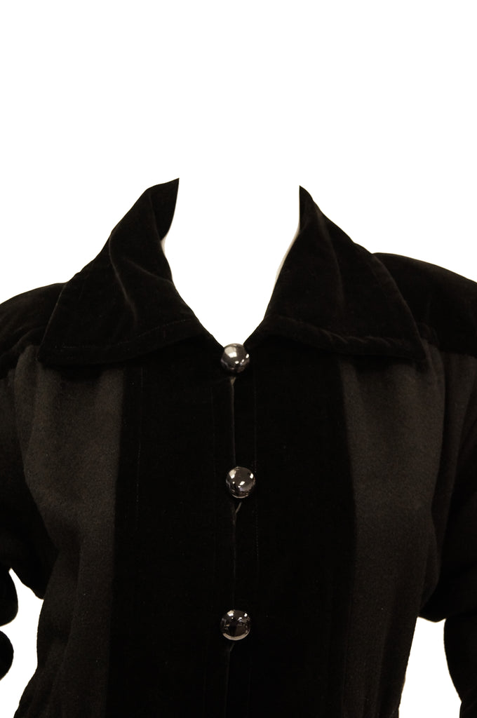 "1970s Yves Saint Laurent ""Russian Collection"" Wool w/ Velvet Black Coat L/XL"