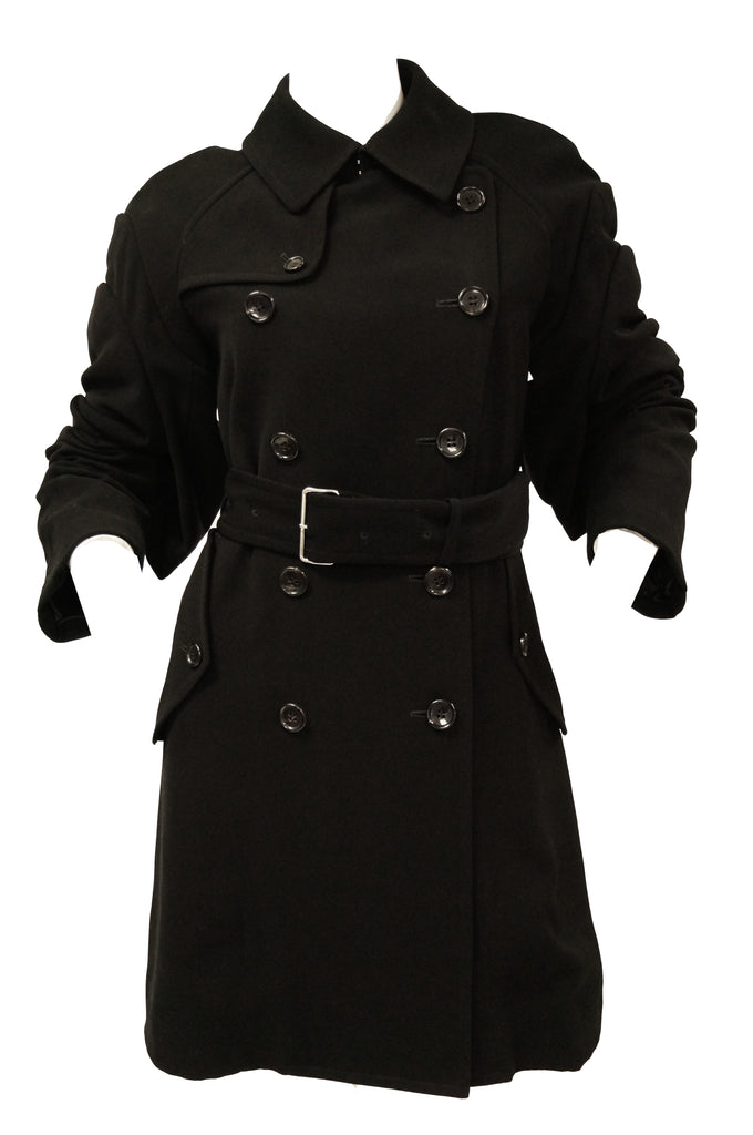2000s Comme des Garçons Black Knit Trench Coat with Rooster Feather Detail
