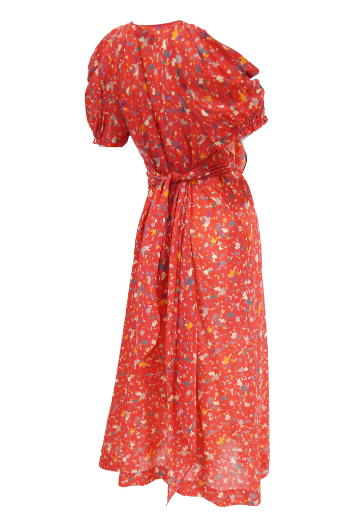 1970s Giorgio Sant Angelo Red Cold Shoulder Midi Dress
