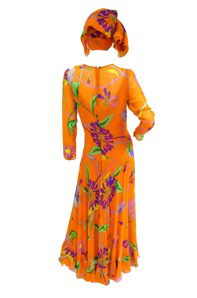 1970s Orange Floral Bias Cut Semi Sheer Dress with Oversized Shawl