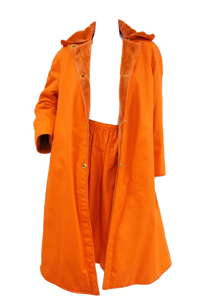 1960s Bonnie Cashin Tangerine Yellow Canvas and Leather Coat & Skirt Set