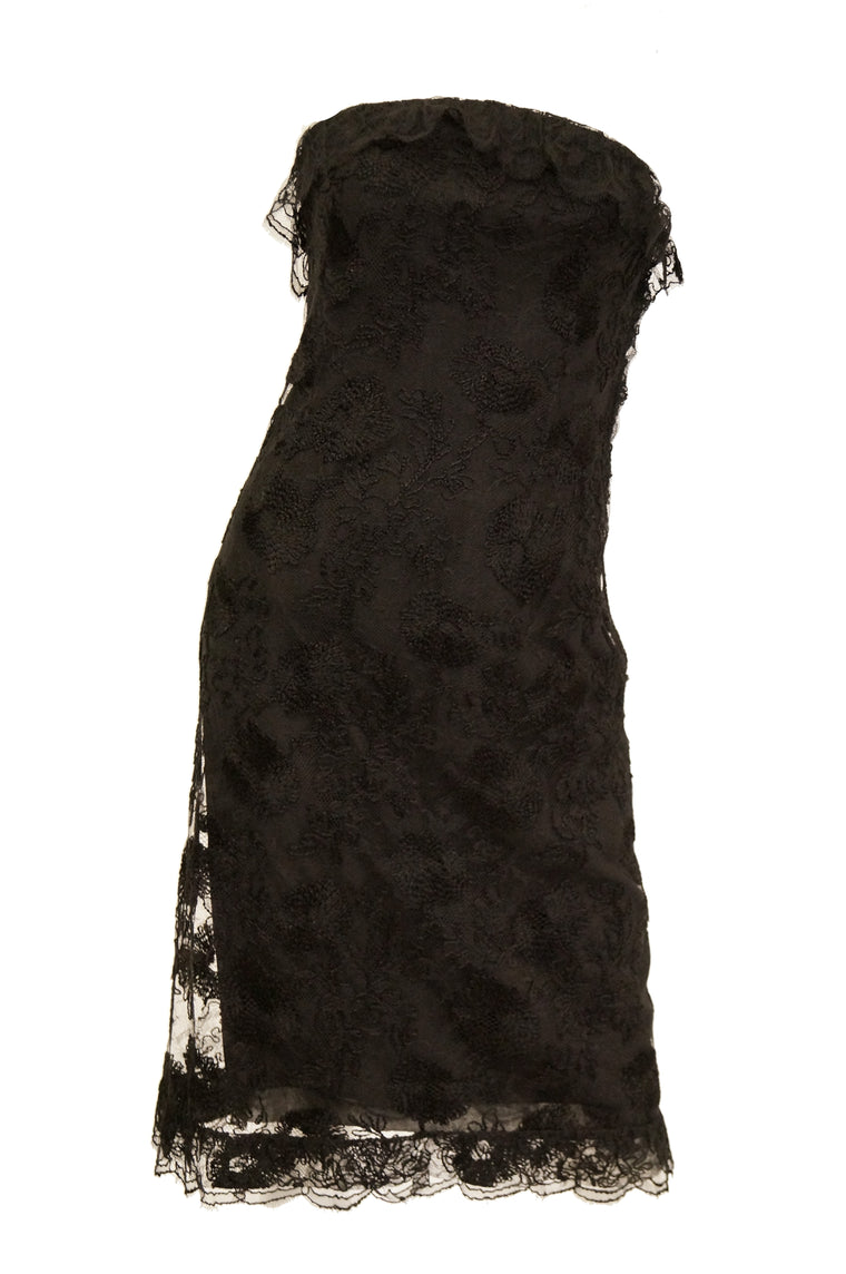 71099822df7 m1957 Haute Couture Balenciaga Strapless Black Riechers Marescot Lace Dress