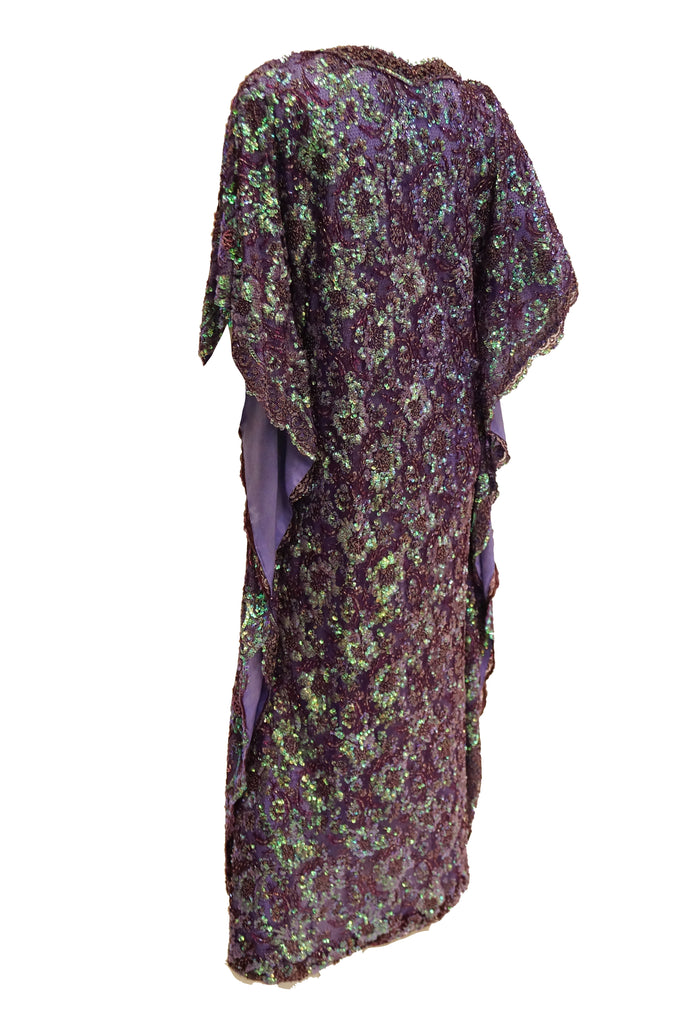 1970s Hand Embroidered Iridescent Floral Sequin Kaftan