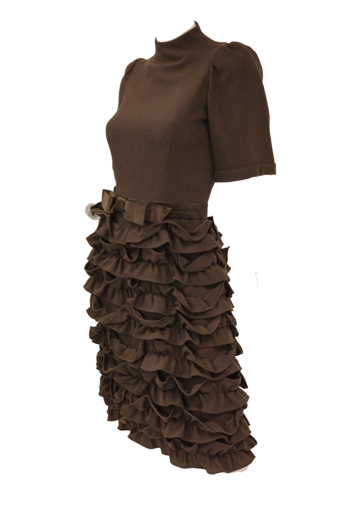 "1960s Cardinali Chocolate Brown ""Sample"" Cocktail Dress w/ Scalloped Skirt"