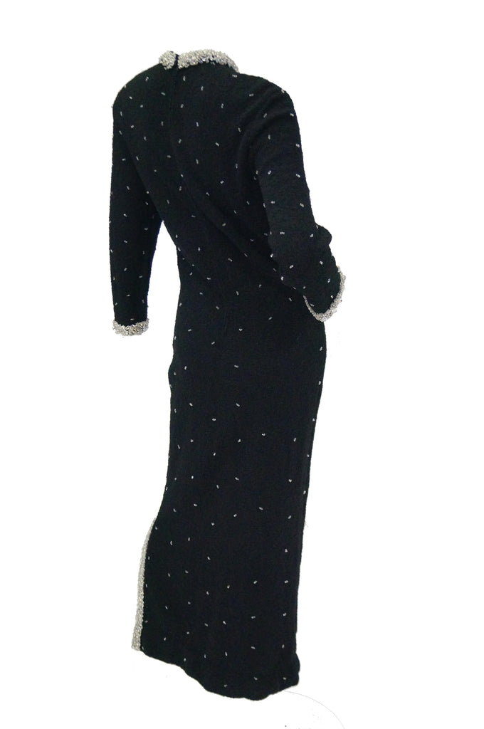 1960s Black Wool Knit Evening Dress Featuring Silver Glass Seed Bead Detail