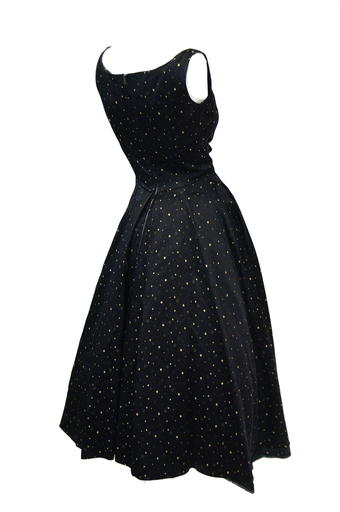 1950s Suzy Perette Black and Gold New Look Evening Dress with Shimmer Dot and