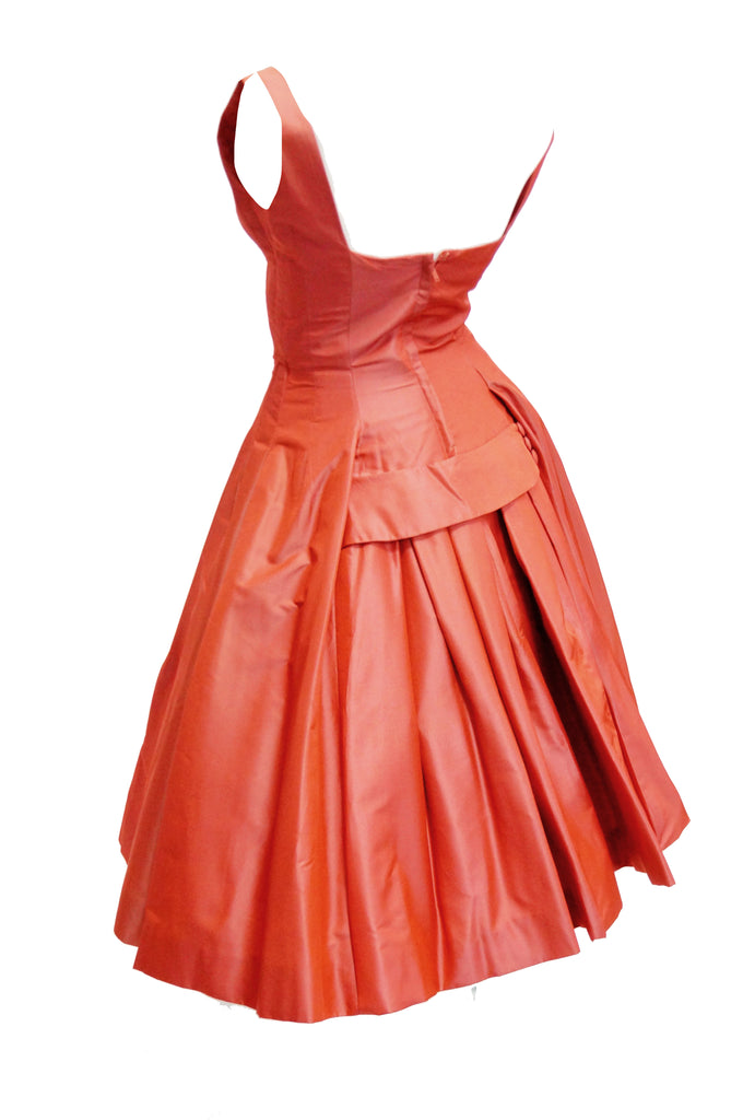 1950s Suzy Perette Red Charmeuse Satin New Look Evening Dress with Bow Detail