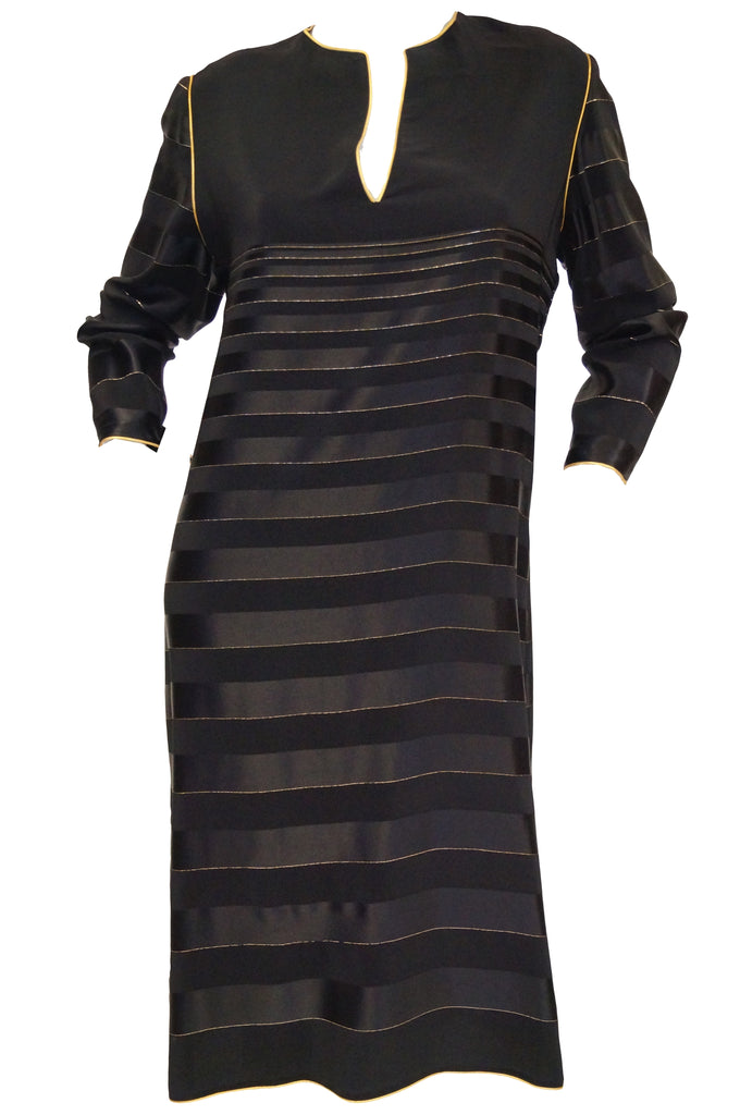1980s Bellville Sassoon Black and Gold Stripe Sheath Dress / Caftan