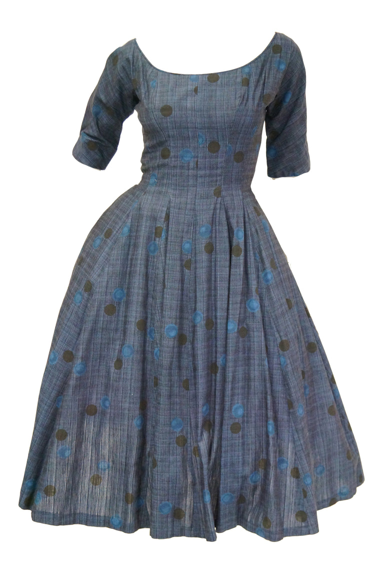 1950s Suzy Perette Blue Polkadot New Look Dress