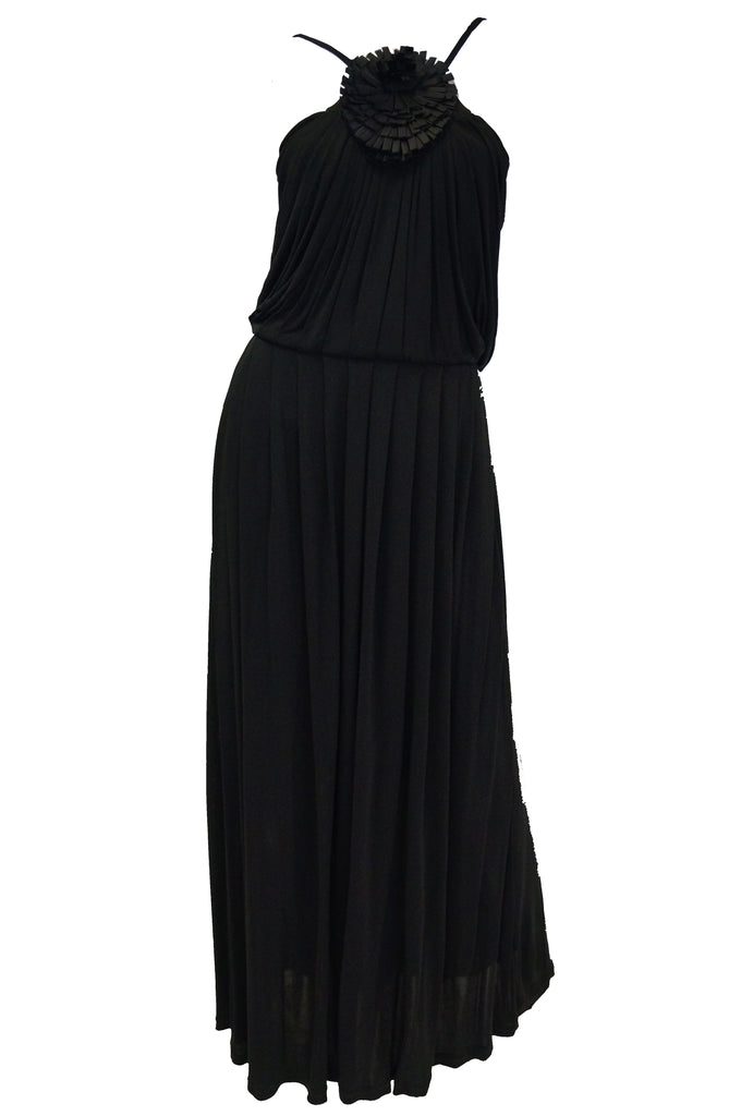 2003 Fendi Black Drape Jersey Knit Maxi Dress
