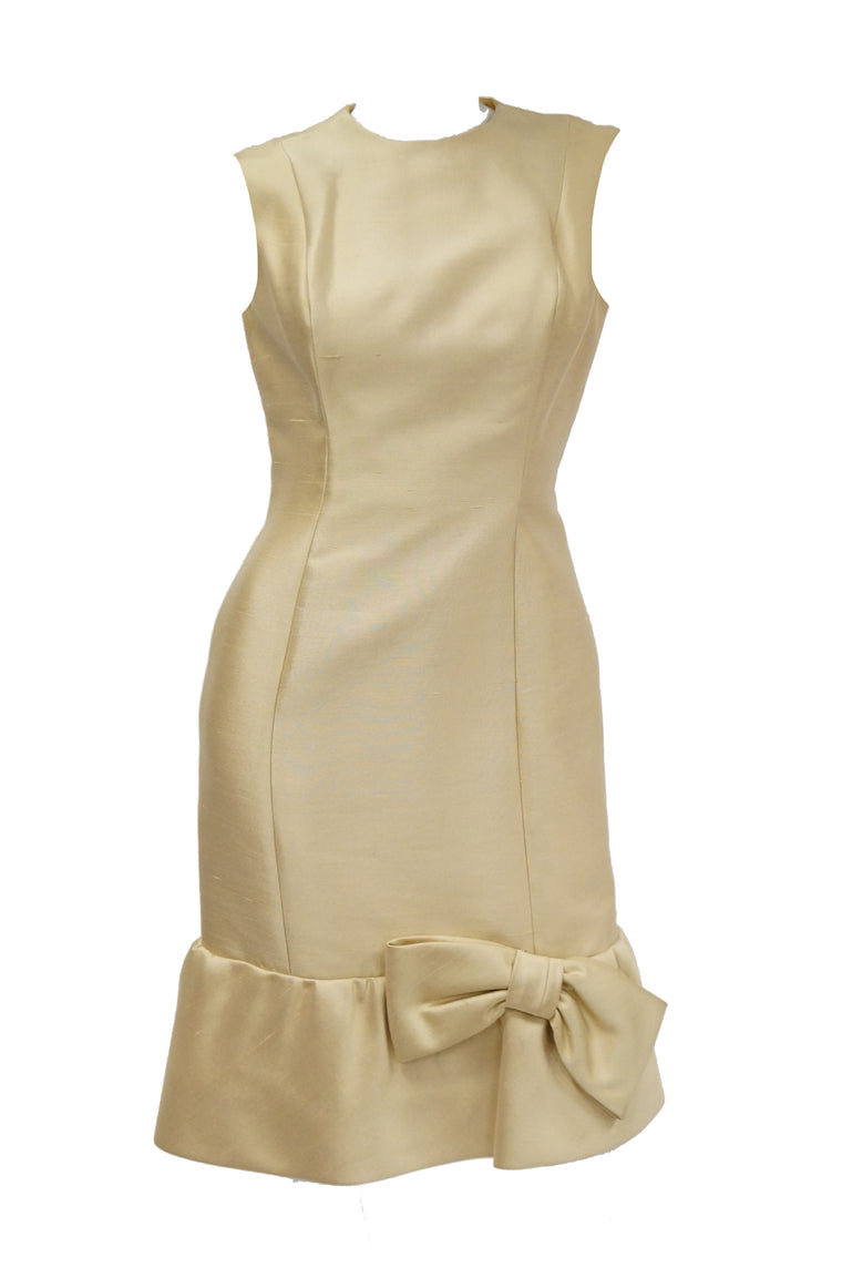 1960s Mardi Gras Champagne Gold Cocktail Sheath Dress with Bow Detail