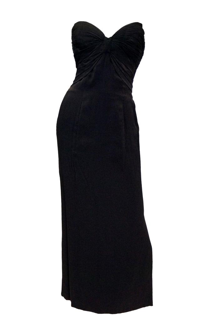 1950s Tur Zel Black Silk Sweetheart Evening Dress