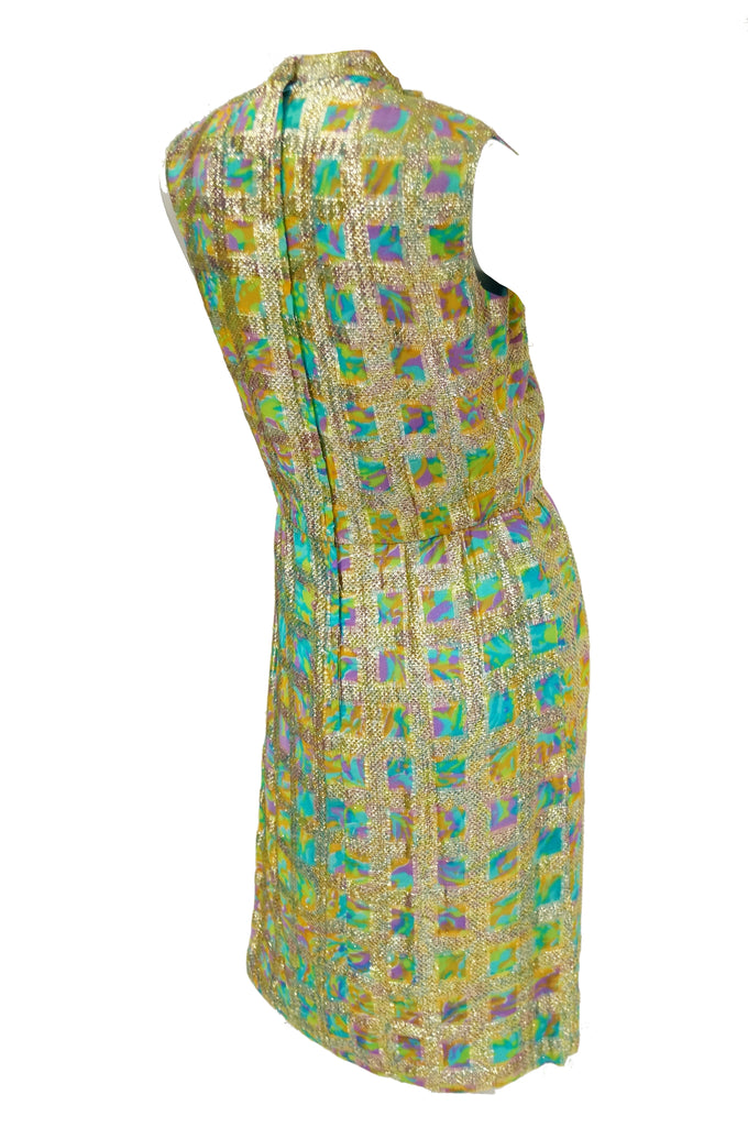 1960s Saks Fifth Avenue Blue & Gold Lame Psychedelic Swirl Cocktail Dress