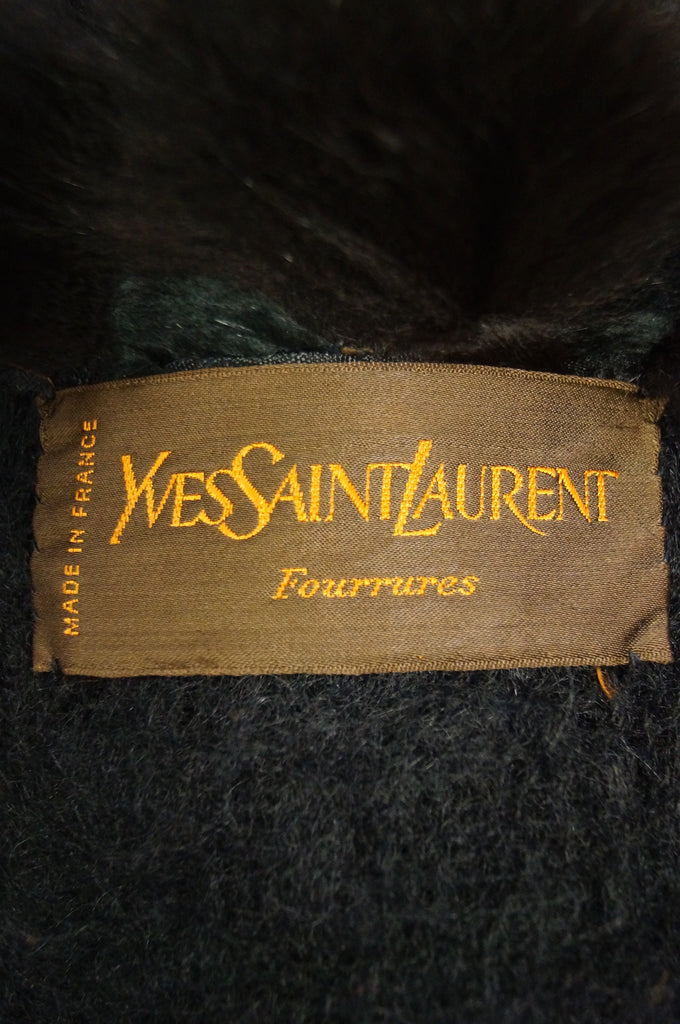1970s Yves Saint Laurent Wool and Fox Button Shawl Cape