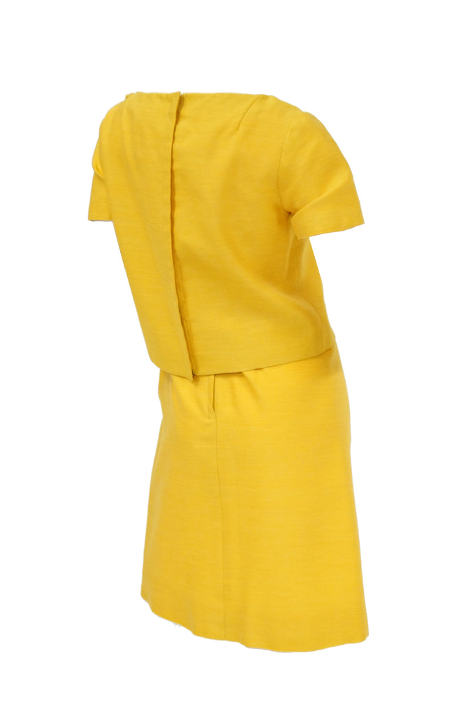 1960s Pierre Cardin Sunshine Yellow Wool Mod Dress