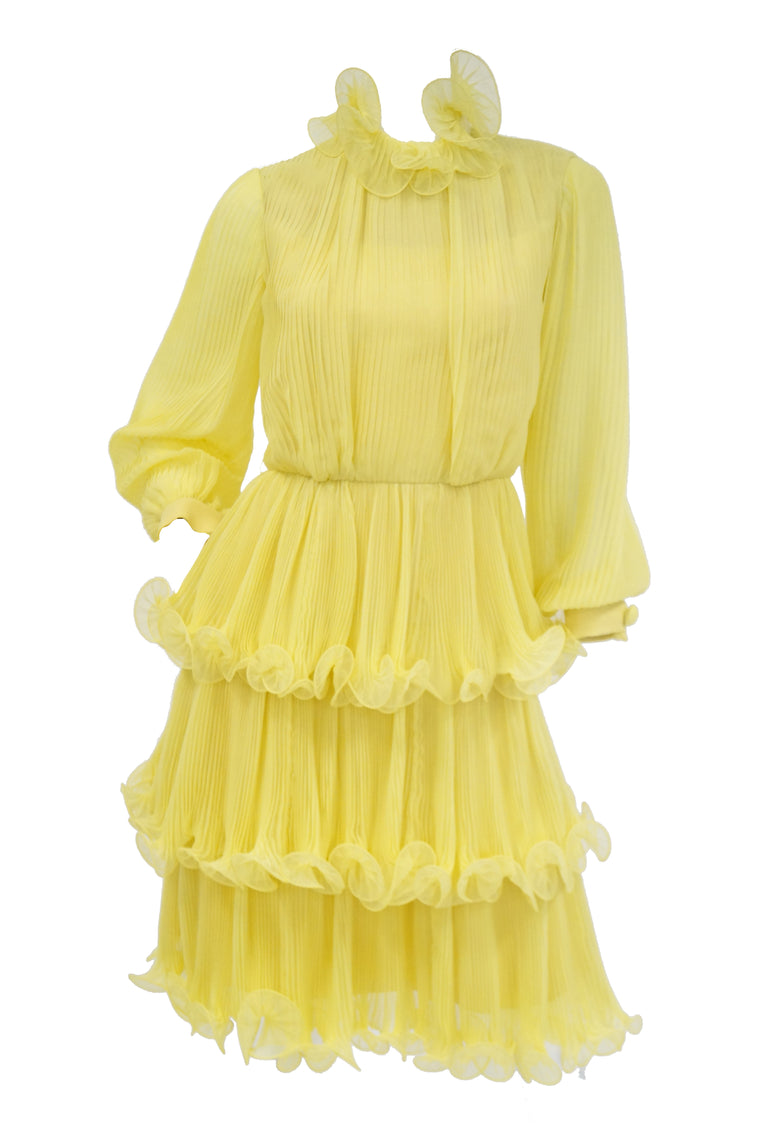 1960s Lemon Chiffon Curly Hem Cocktail Dress
