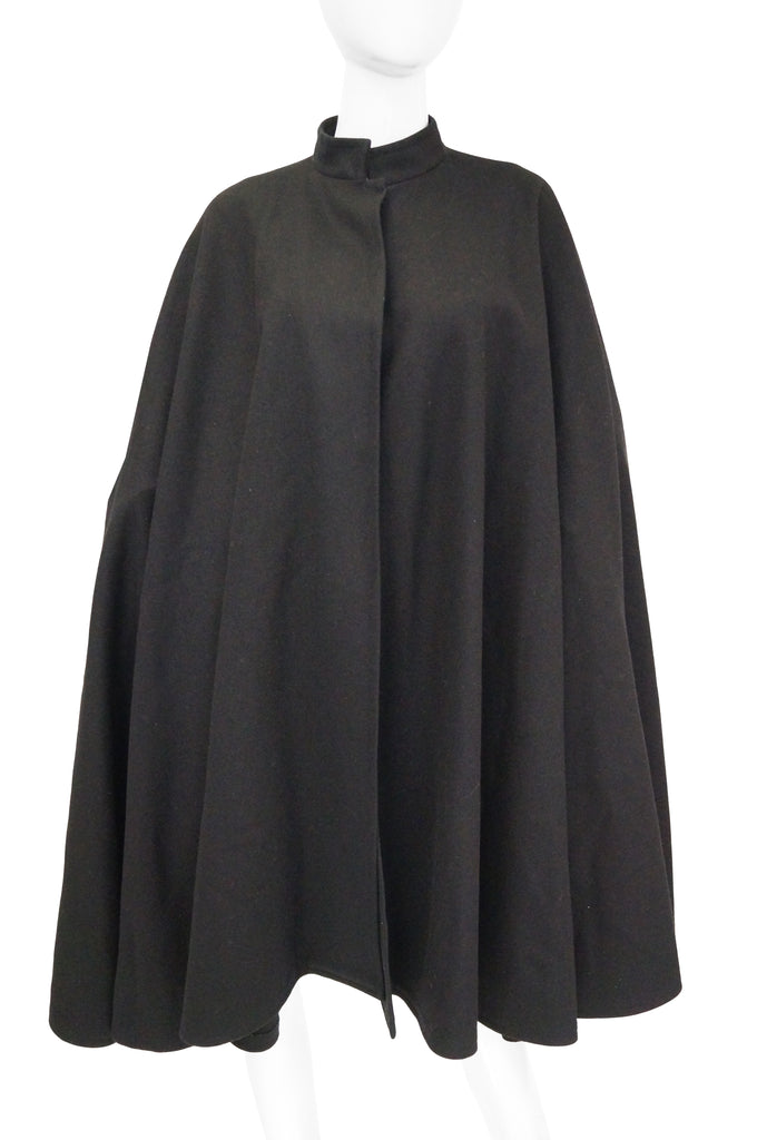 1970s Yves Saint Laurent Mandarin Collar Black Wool Cape