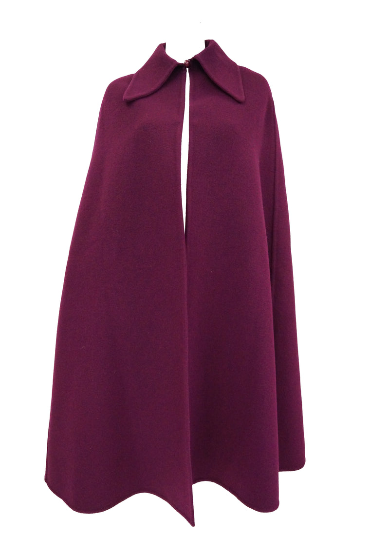 1971 Christian Dior Marc Bohan Plum Wool Cape W/ Croquis and Photo