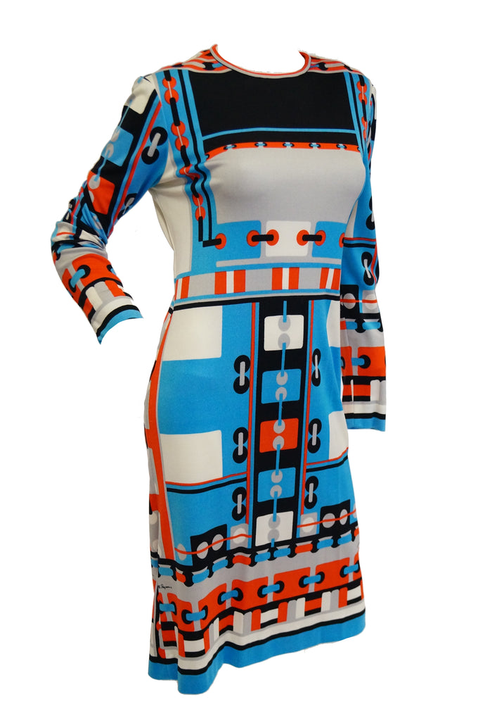 1960s Paganne Blue and Orange Geometric Graphic Knit Dress