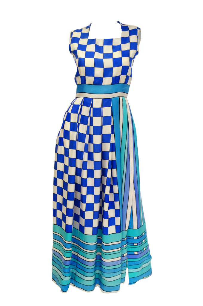 1960s Tina Leser Blue Checkerboard Print Dress with Graphic Blue Hem