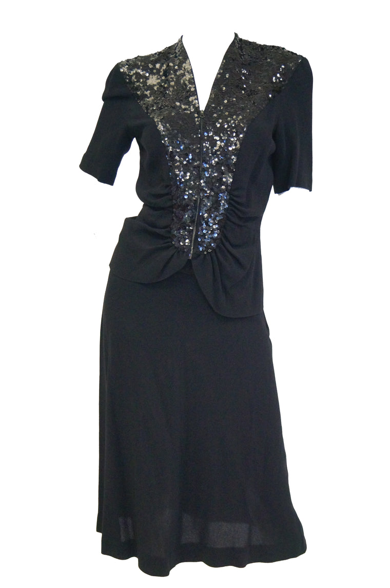 1940s Black Crepe and Sequin Cocktail Skirt and Blouse Set