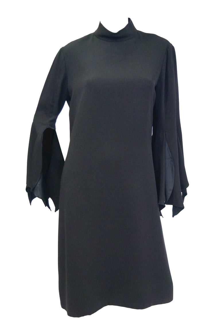 1960s Geoffrey Beene Black Petal Bell Sleeve Cocktail Dress