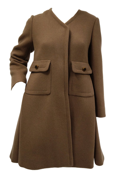 caff9783f8a 1970s Galanos Brown Wool Coat with Pleat Detail and Wooden Buttons  945.00  USD