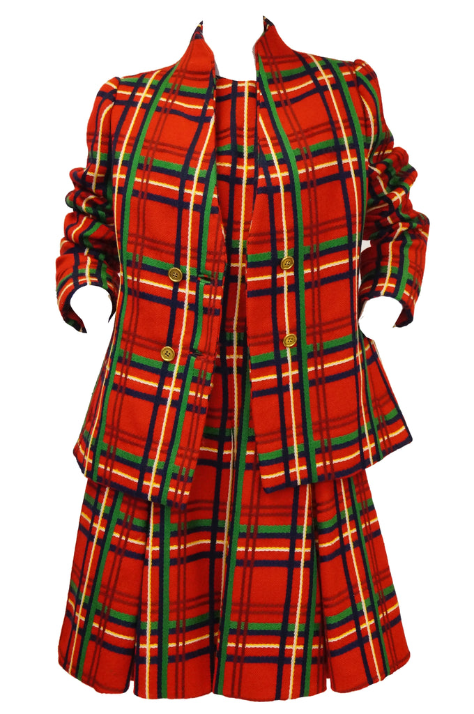 1970s Galanos Red Plaid Dress and Jacket