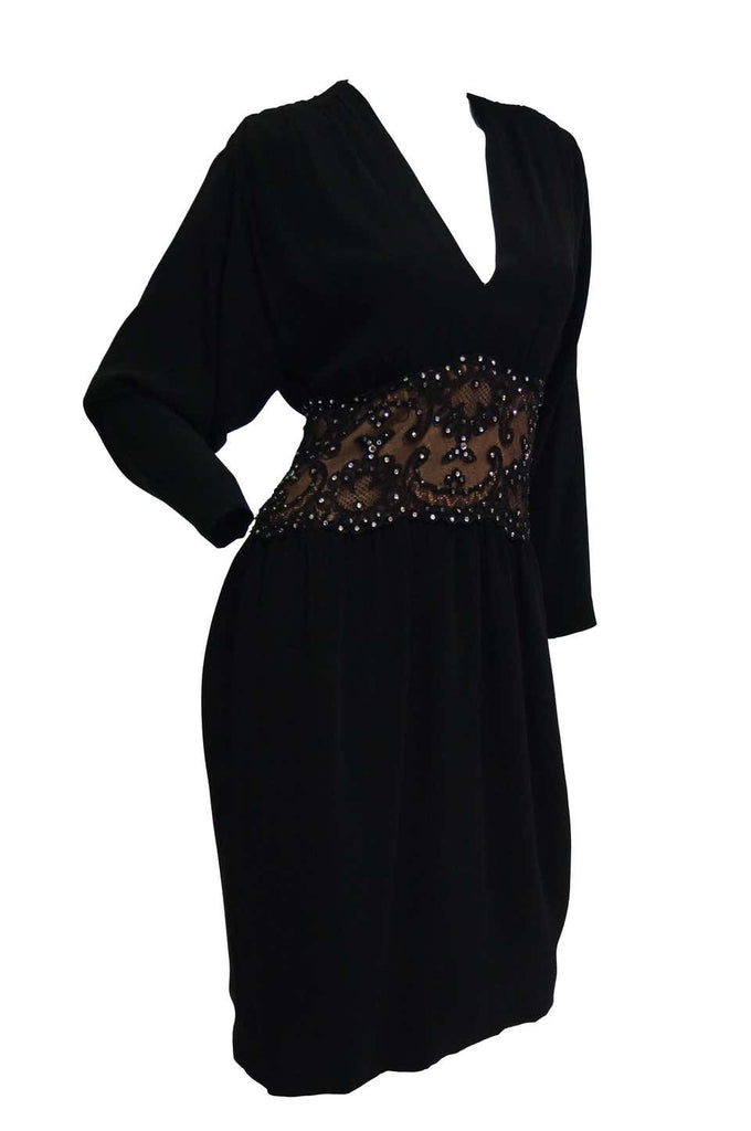 1990s Bob Mackie Black Silk, Lace and Rhinestone Cocktail Dress