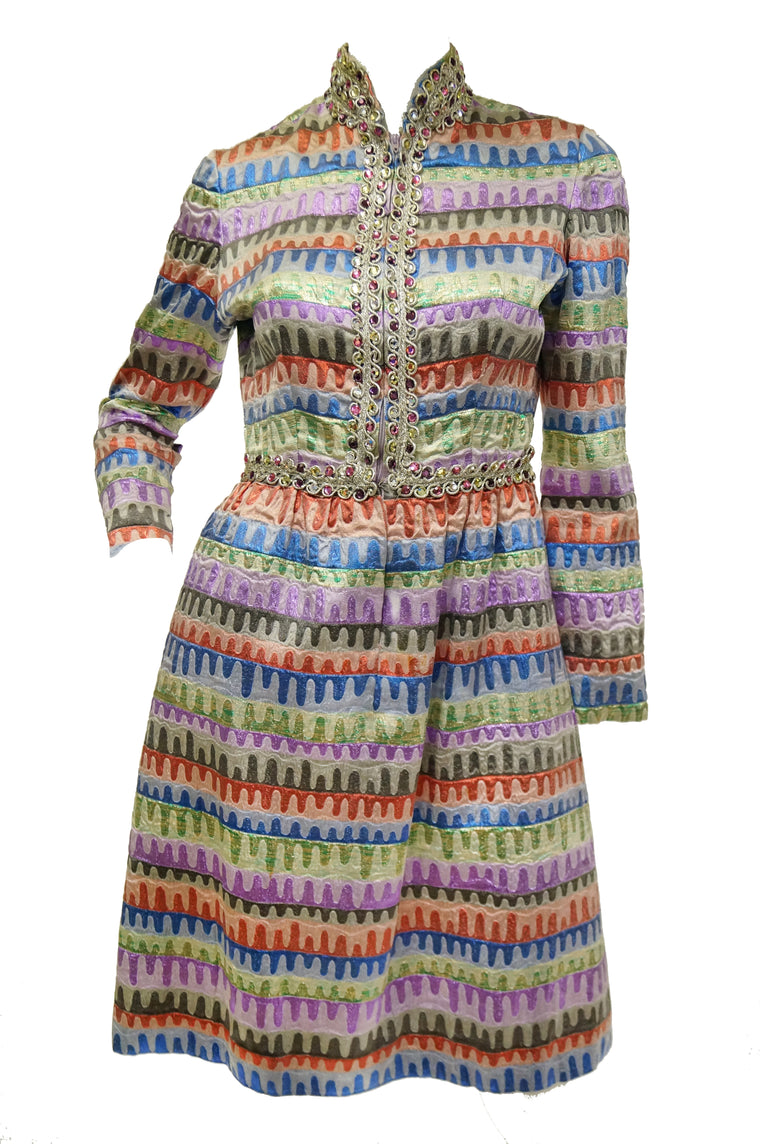 1960s Oscar de la Renta Rainbow Brocade Wave Cocktail Dress