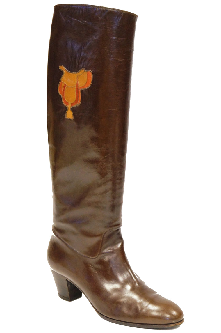 1980s Gucci Mahogany Leather Saddle Applique Boots