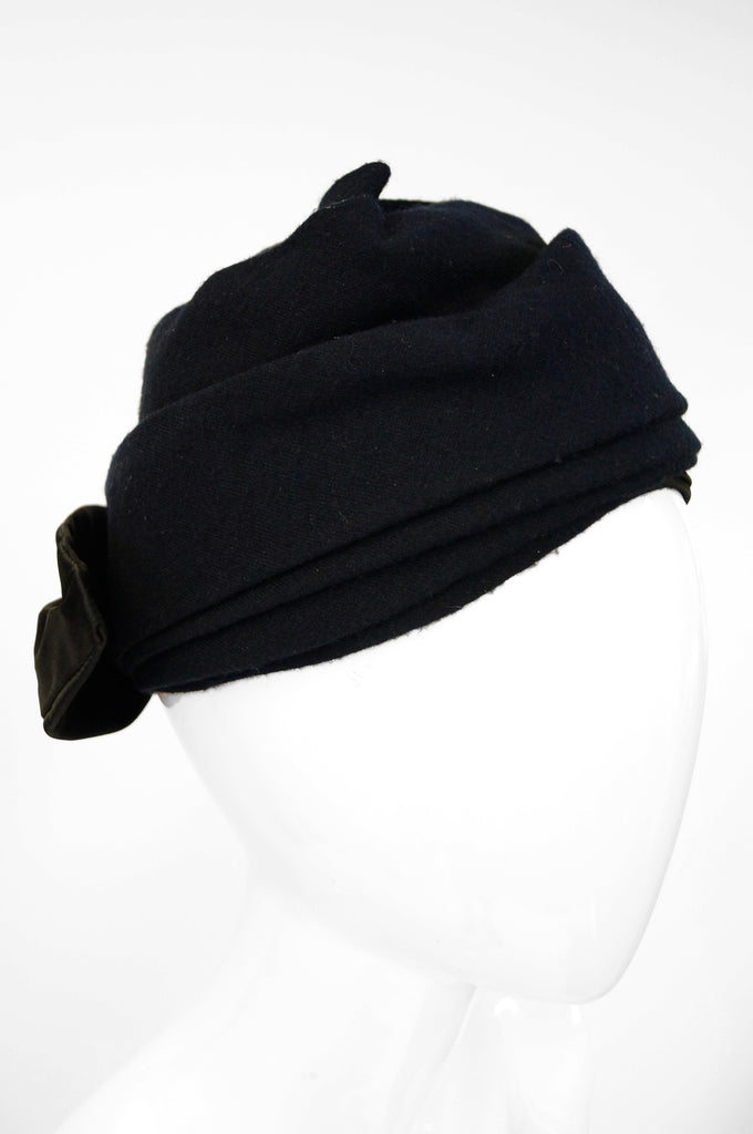 1950s Sally Victor Black Wool Bow Turban