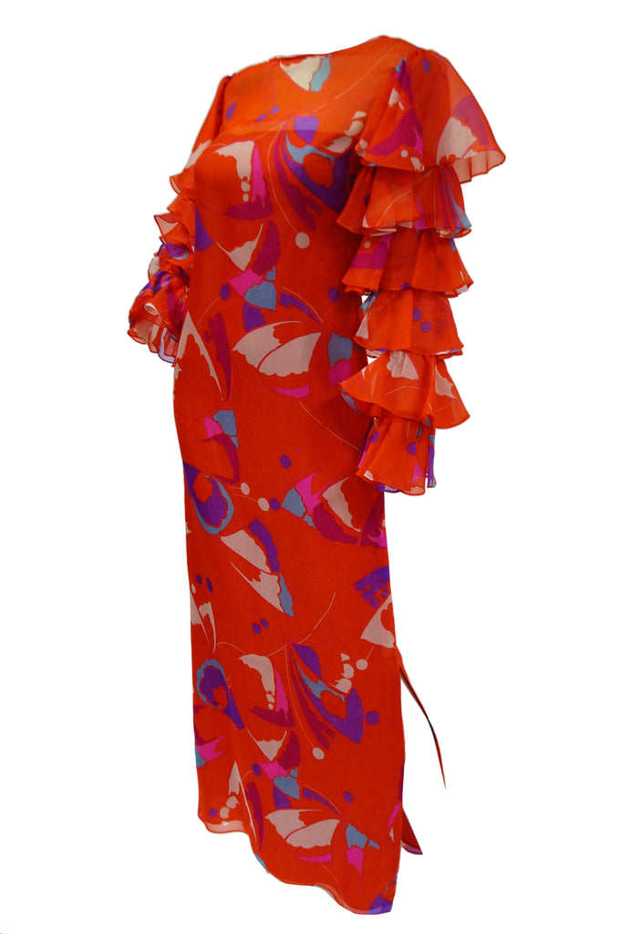 1970s Red Geometric Print Maxi Dress with Flamenco Ruffle Sleeves