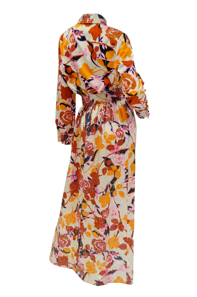 1970s Red and Orange Floral Sequin Maxi Dress