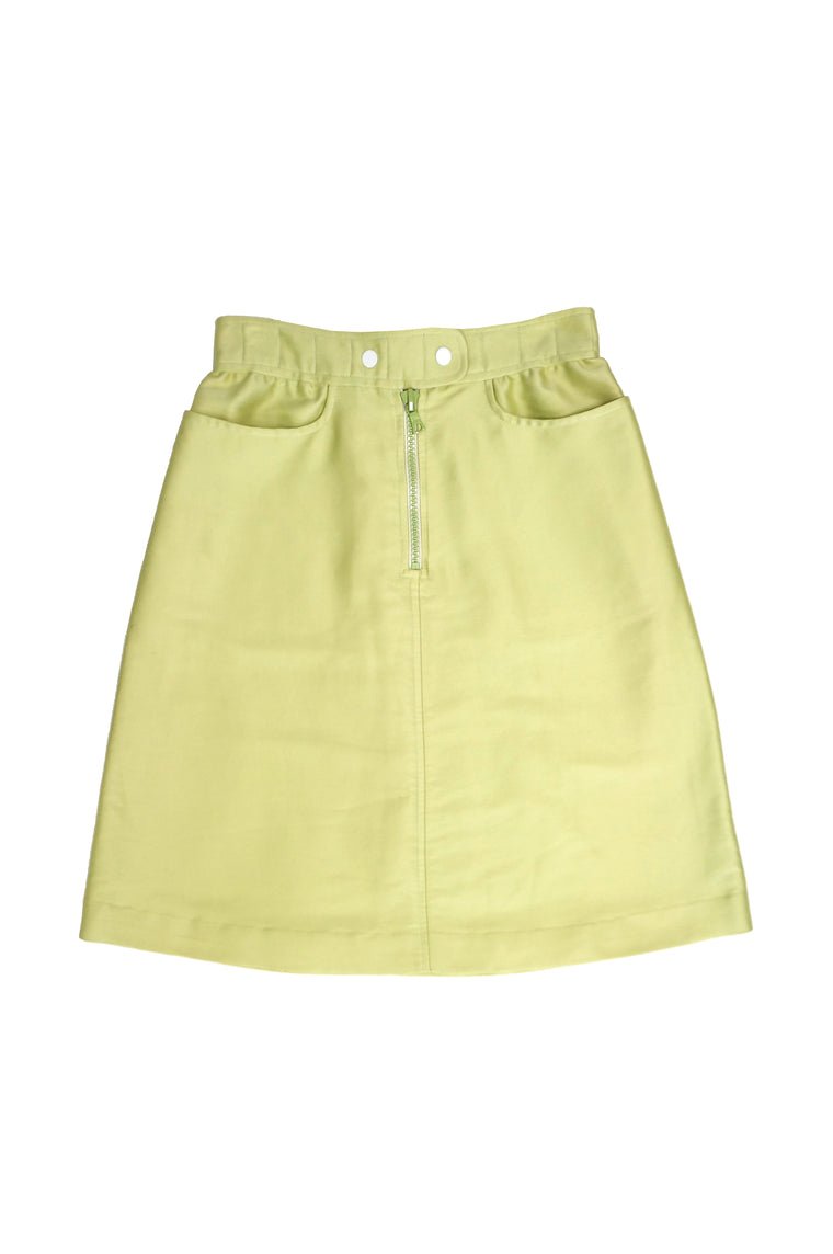 1990s Courreges Green Mod Mini Skirt with White Accent Zipper