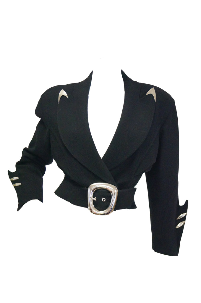 1980s Thierry Mugler Futuristic Black Wool Metal Fin Accent Jacket