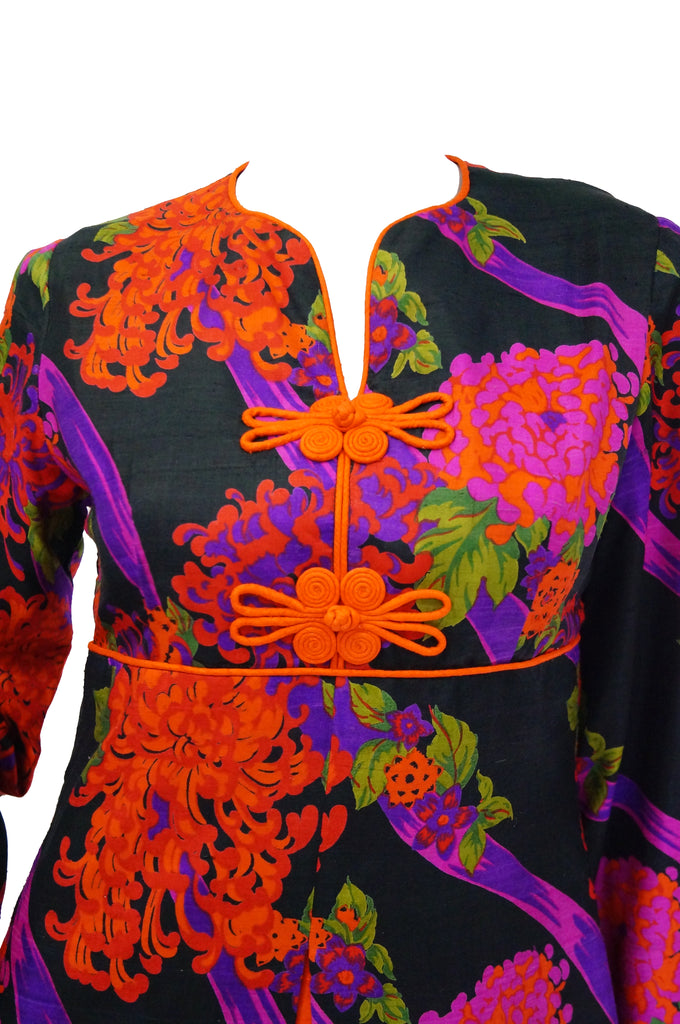 1960s Thai Silk Black, Purple, and Red Chrysanthemum Floral Maxi Dress
