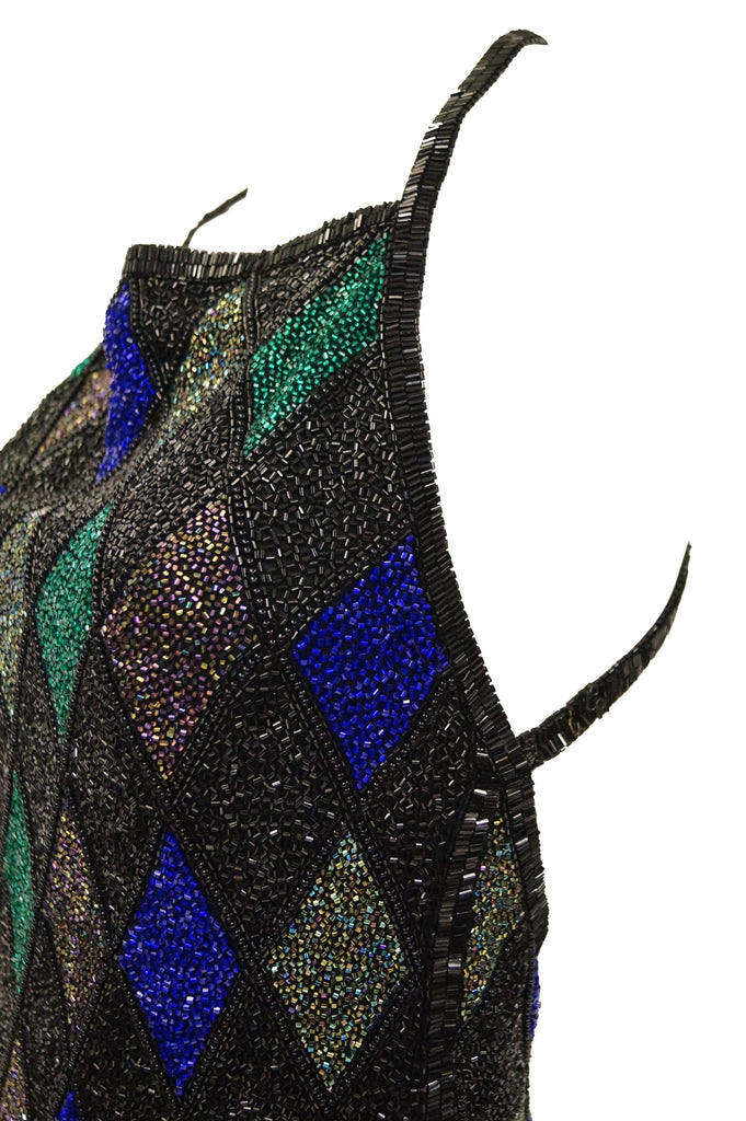 1990s Bob Mackie Beaded Black Blue and Green Diamond Cocktail Dress