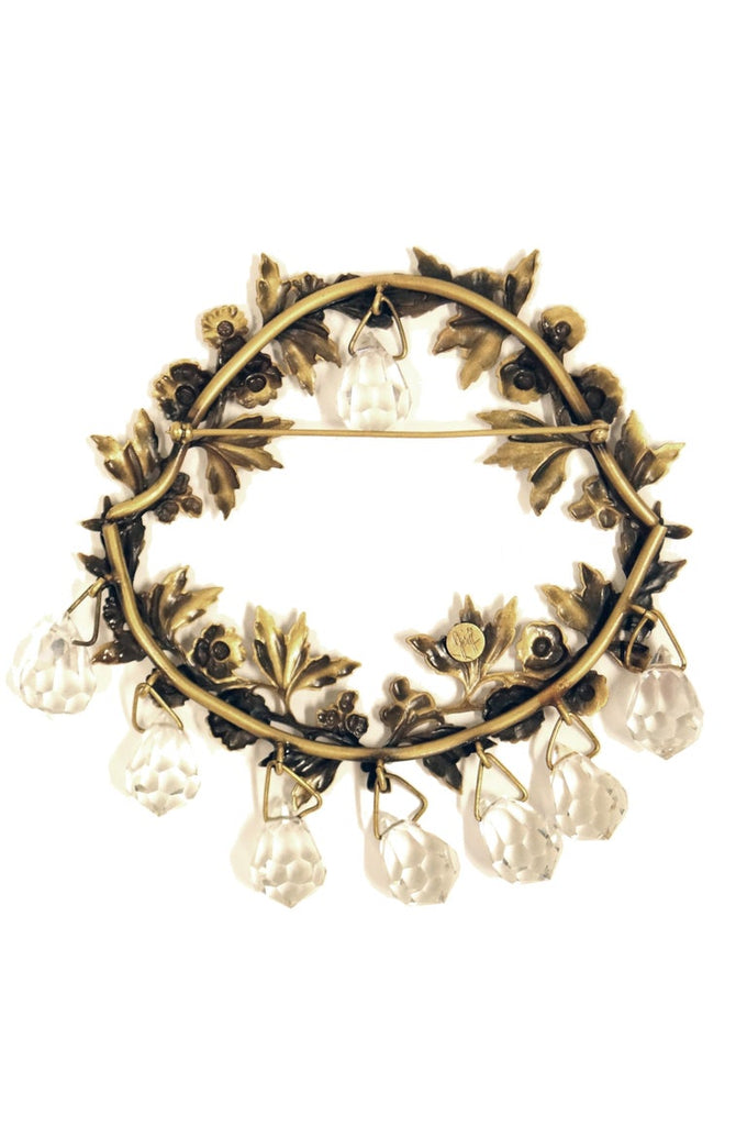 1940s Joseff of Hollywood Chandelier Wreath Brooch in Russian Gold Finish