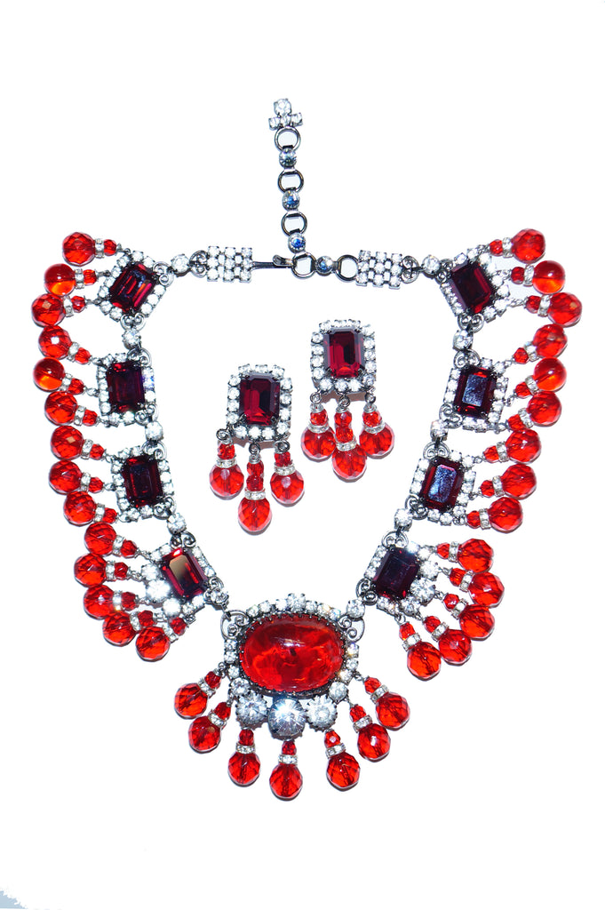 Lawrence VRBA Ruby Pate de Verre Rhinestone Necklace and Earrings Set