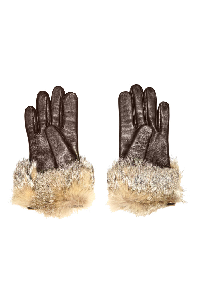 Vintage Italian Brown Leather Gloves with Fur Cuffs
